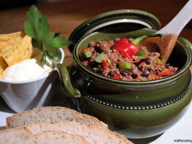 Chili Con Carne med porter och färsk korv