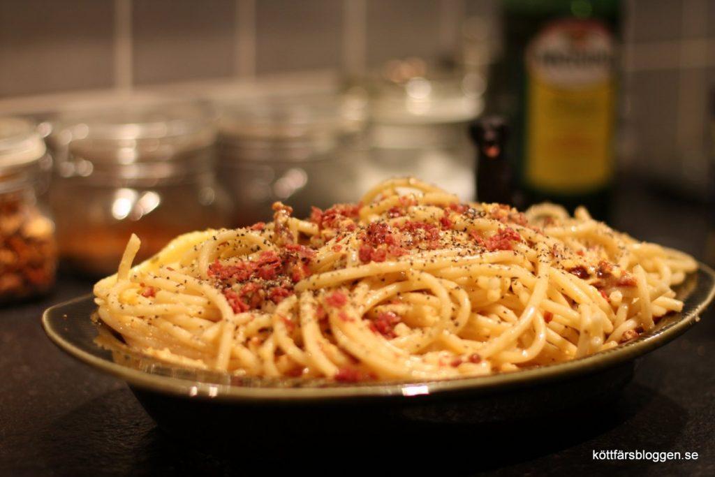 Köttfärsbloggens pasta carbonara.